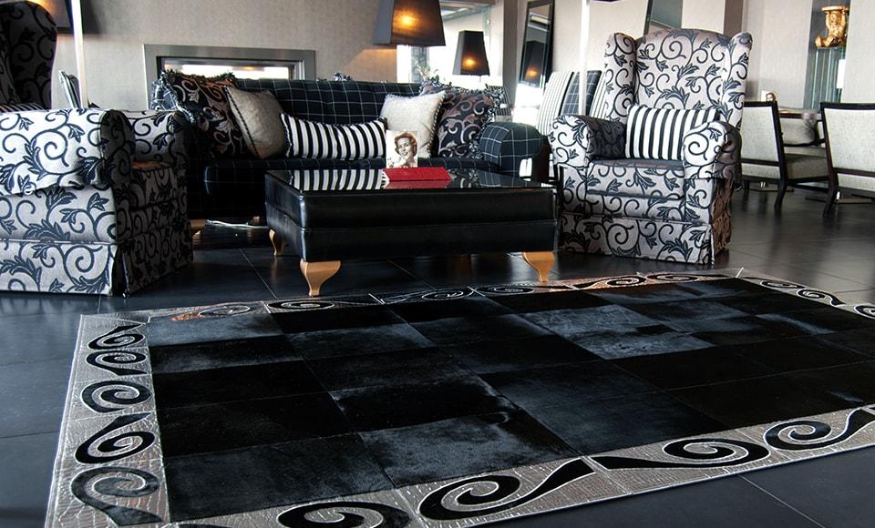 Cowhide rug on display