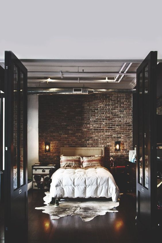 Bedroom with cowhide