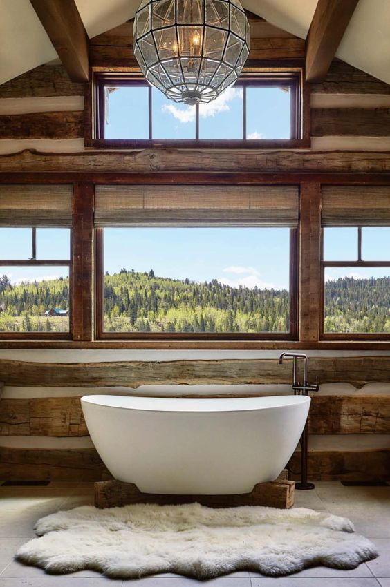 Bath with sheepskin