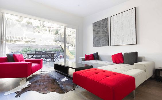 08 Cow hide in modern red living room