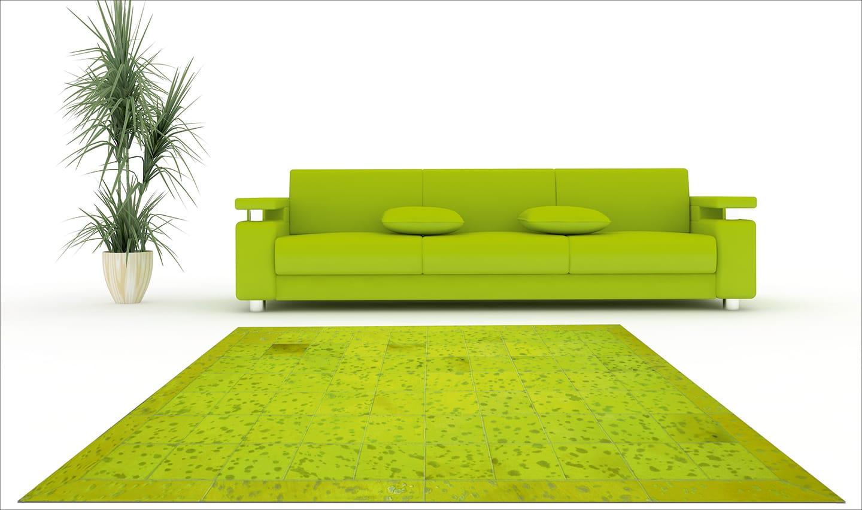Kiwi green cowhide patchwork rug
