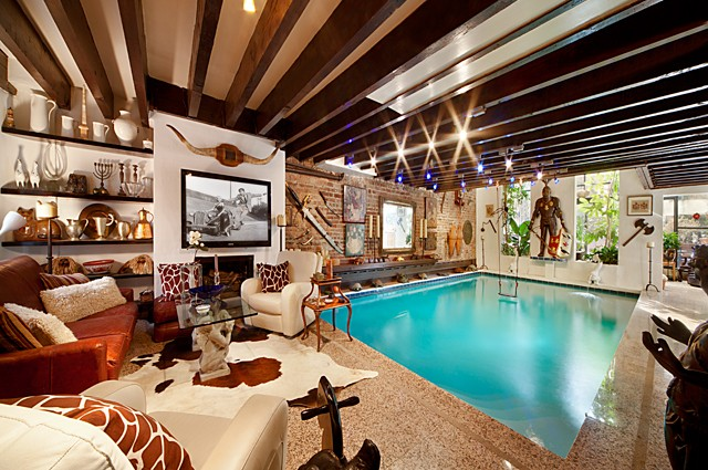 Pool room with natural cowhide for extra luxury