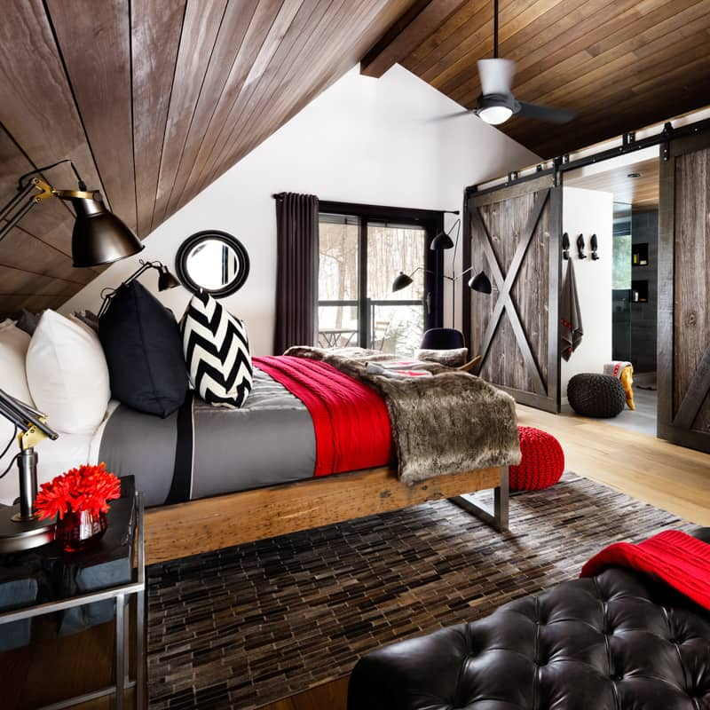 Cowhide rug and fur blanket for bedroom