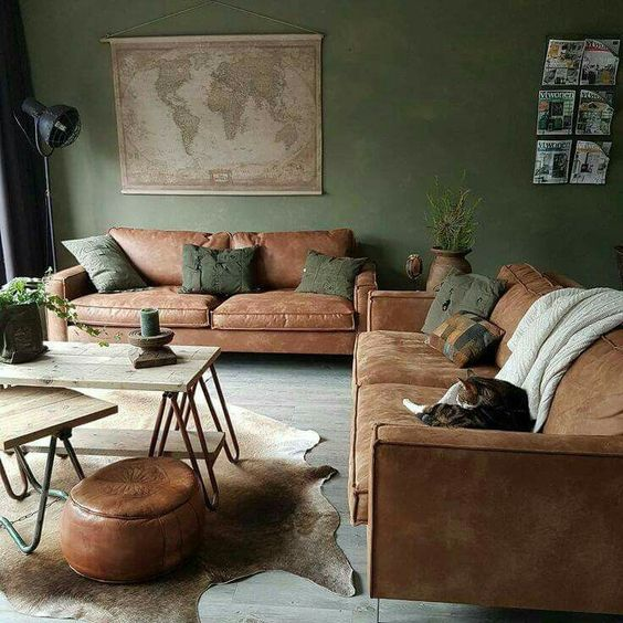 Natural cowhide for earthly toned living room
