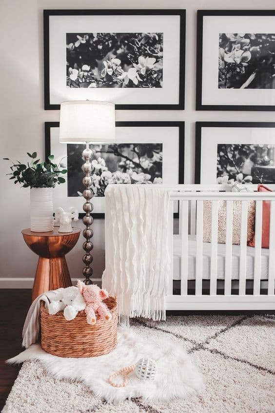 Baby crib with sheepskin