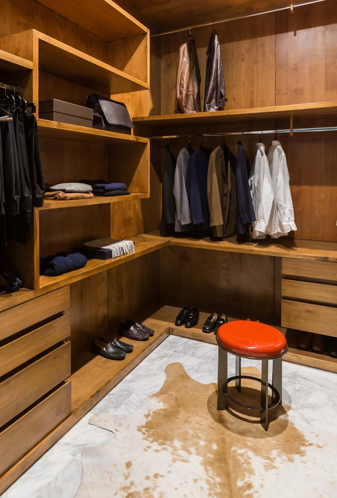 Cowhide in a closet room
