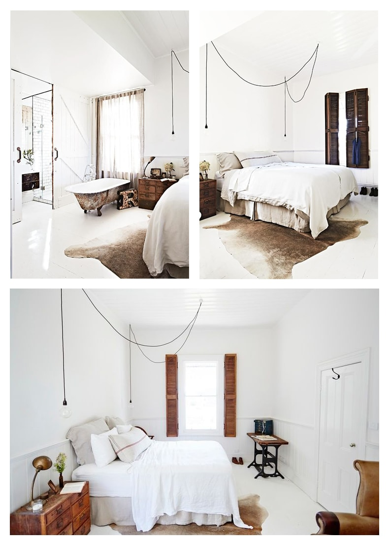 The perfect minimal bedroom has a cowhide in it