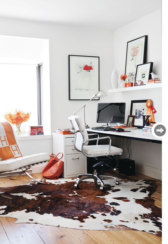 Natural bovine cowhide under the office chair