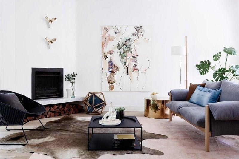 Minimal living room cowhide