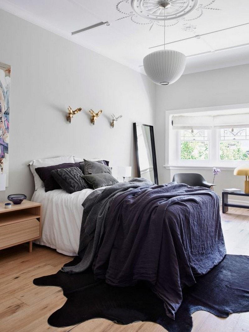 Black cowhide bedroom