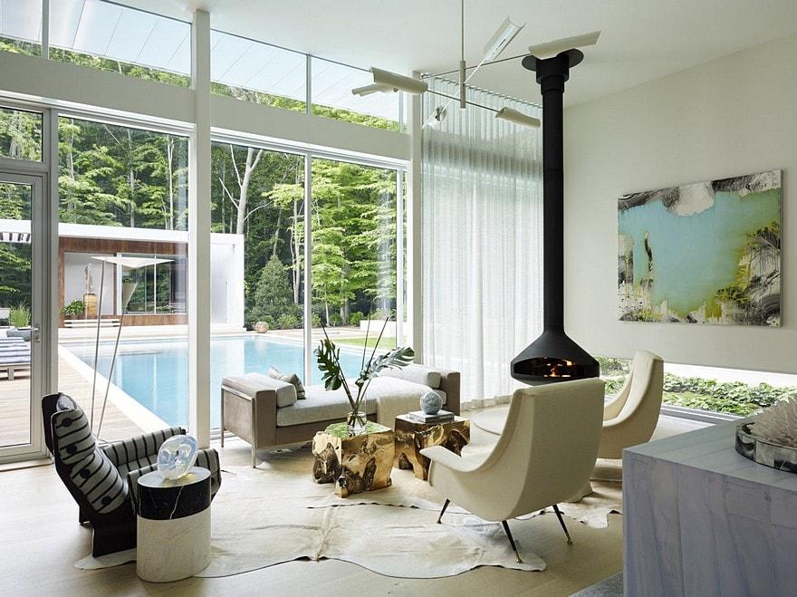 Pastel cowhide in modern living room