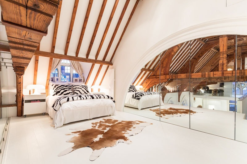 Cowhide of natural style in attic bedroom