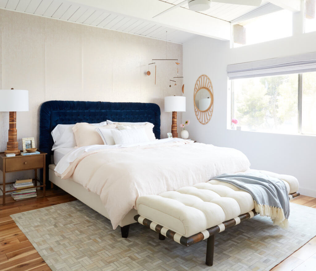 Patchwork cowhide rug for the bedroom