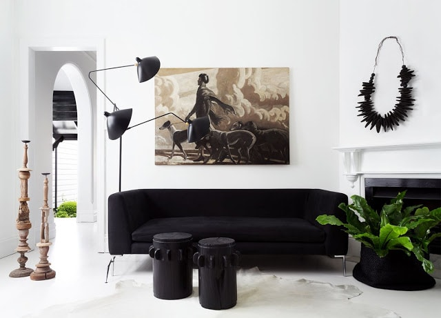 Light white cowhide seems transparent in this living room
