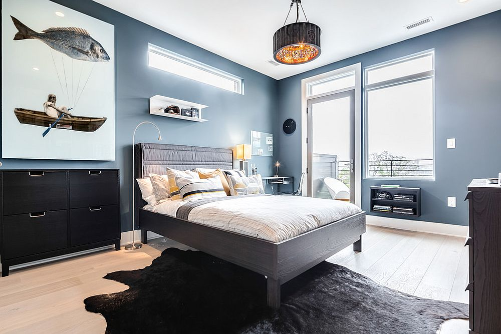 Elegant bedroom with a monochrome natural black cowhide