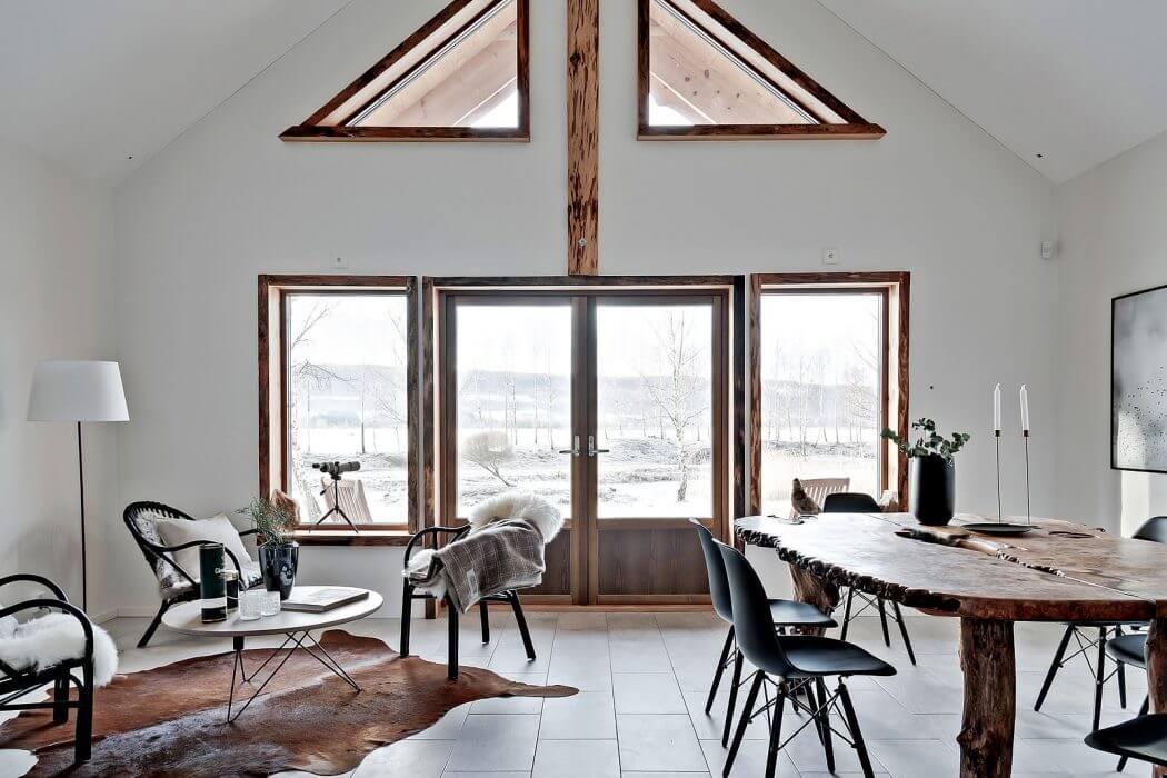 Cowhide and sheepskins create a cozy corner