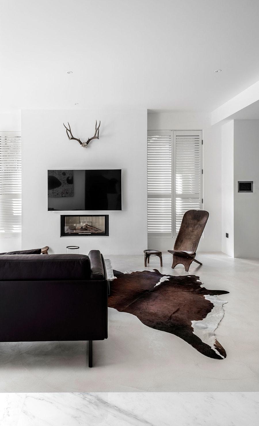 Natural cowhide in modern living room