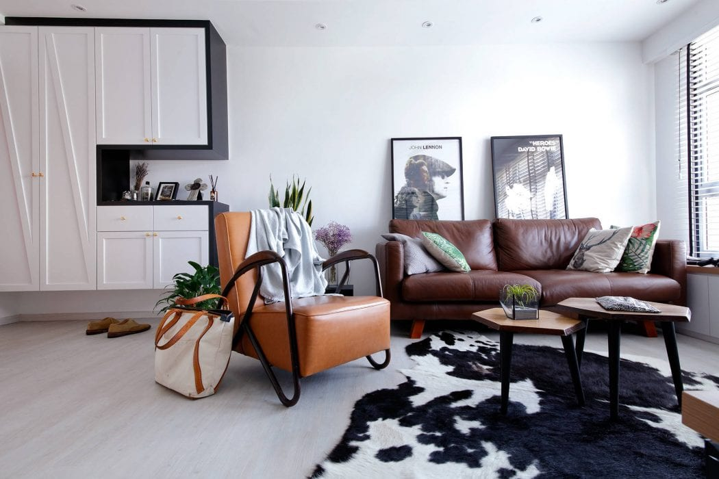 Bauhaus living room with spotted cowhide rug