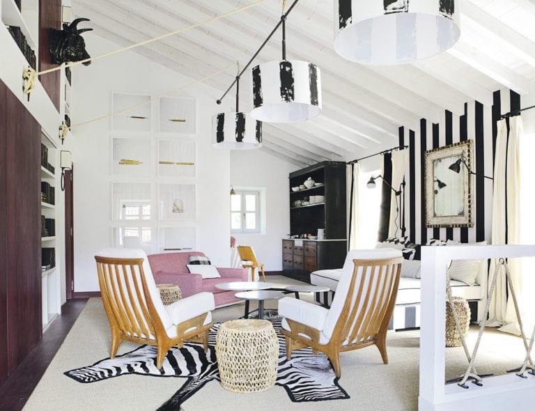Zebra rug modern living space