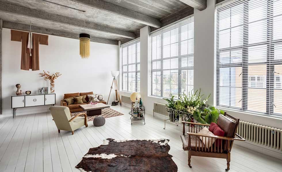 Industrial room midcentury furniture cowhide