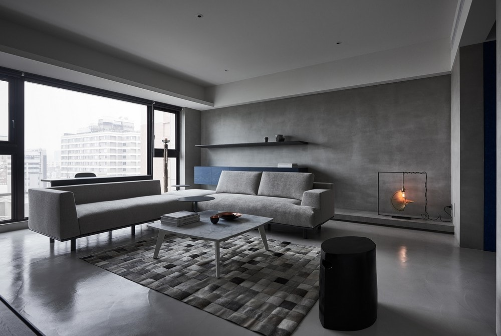 Cement patchwork cowhide rug modern living room