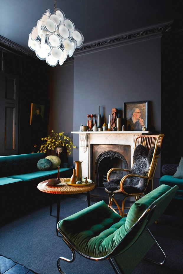 Twilight sheepskin throw emerald living room