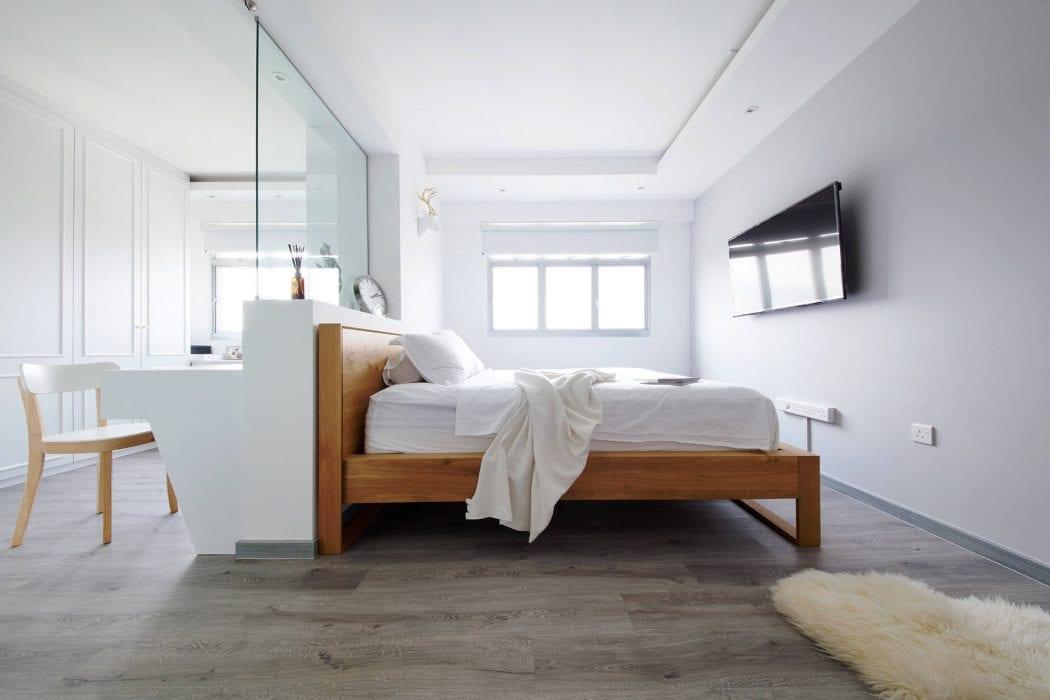 Sheepskin neutral white bedroom