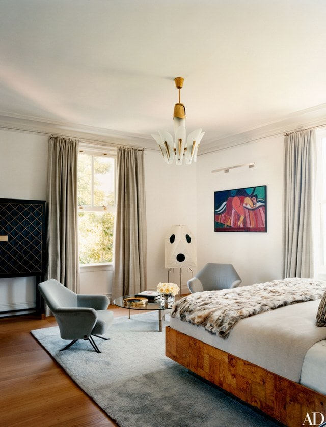 Fur plaid contemporary bedroom