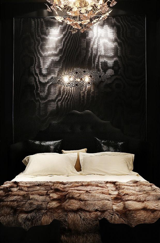 Dark modern bedroom fur blanket