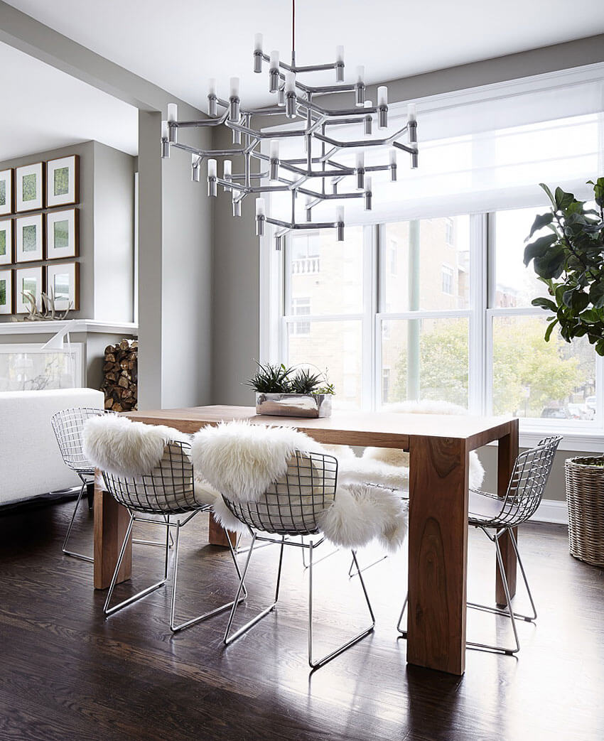 Sheepskin chair furnishing modern dining room