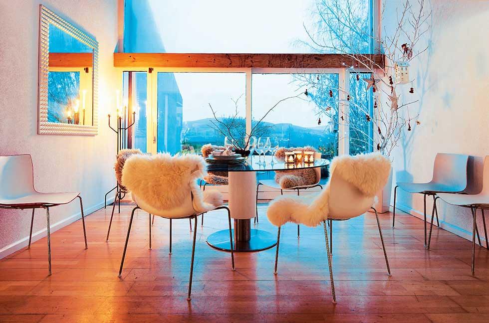 Romantic diner sheepskin chairs