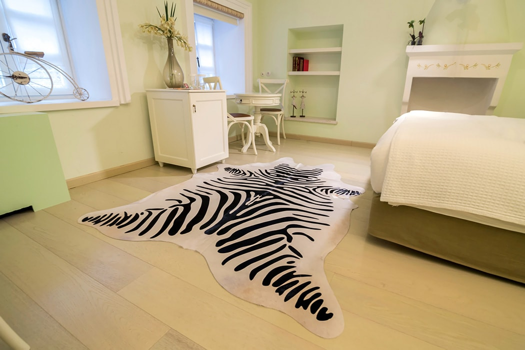 Zebra animal print cowhide hotel orologopoulos room