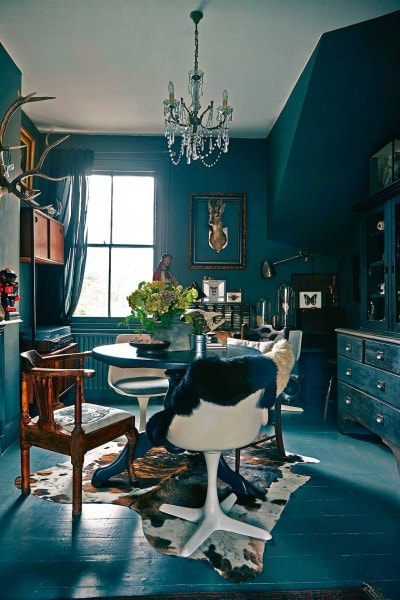 Cowhide tricolor dining room
