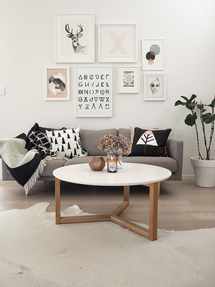 Monochrome cowhide in minimal living room.