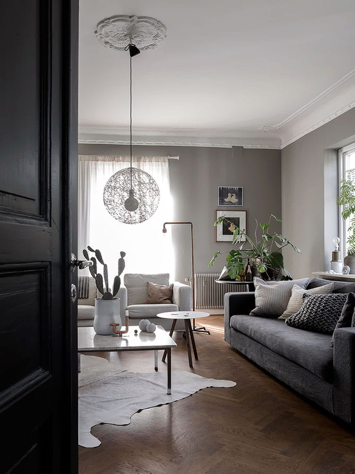 Mono-beige cowhide in minimal dark-toned room.