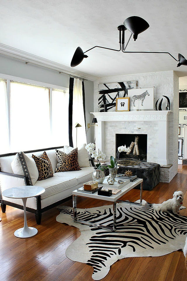 Zebra animal print cowhide black on white.