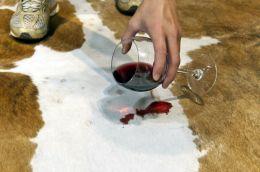 cowhide rug wine cleaning