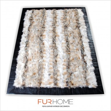 Coyote natural fur rug with frame embosed crocco leather
