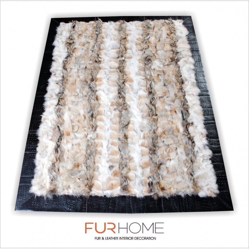 Γούνινο χαλί wolf natural rug with frame crocco gold pony