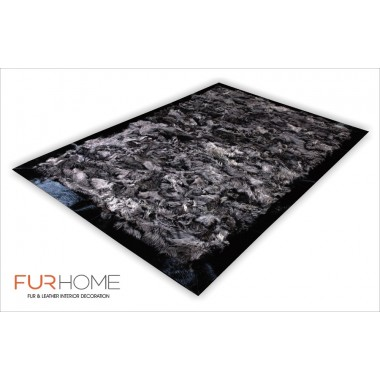 Sheepskin toscana fur rug with frame pony black