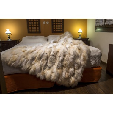 Golden real fox fur throw size 115 x 185 cm