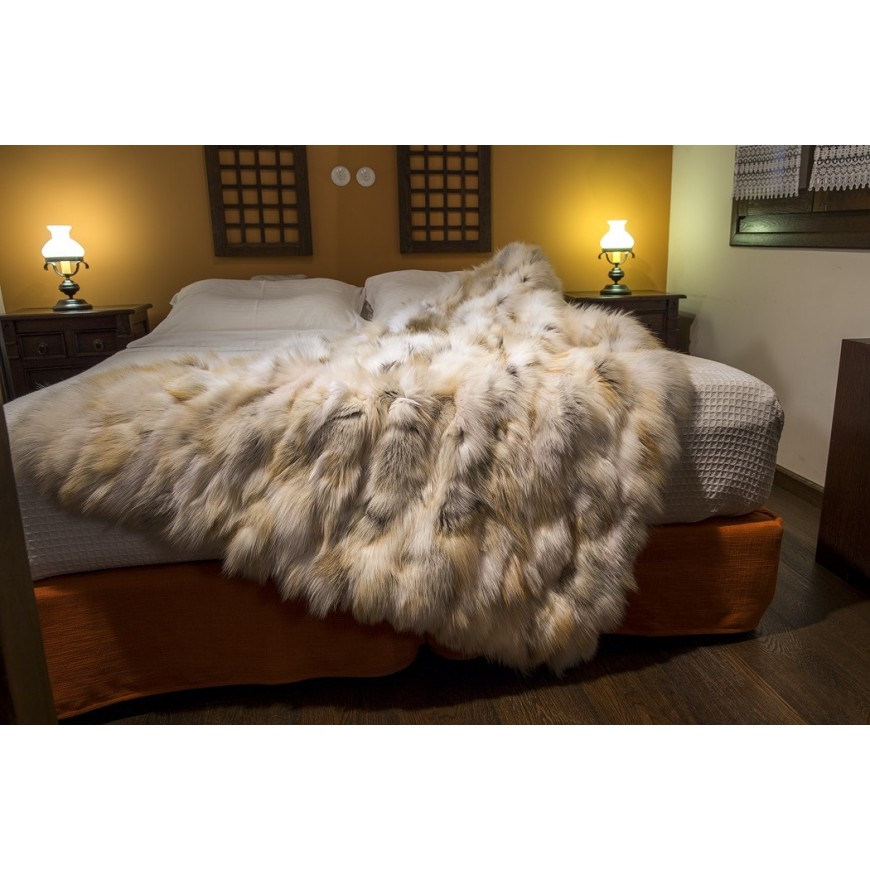 Golden real fox fur throw size 115 x 185 cm 4adf8c401
