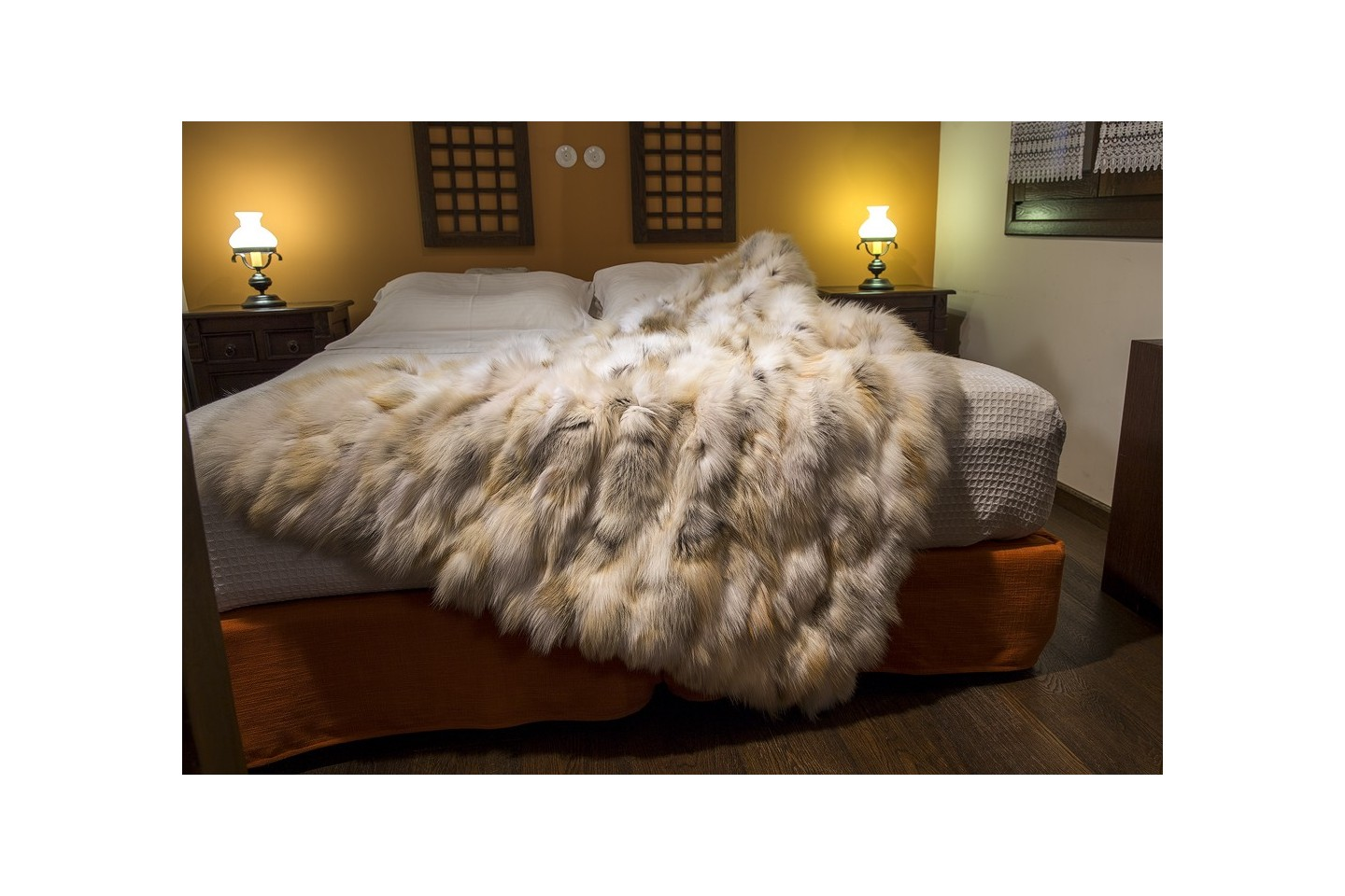 Golden Island Fox Fur Bedspread Blanket Throw Fur Home