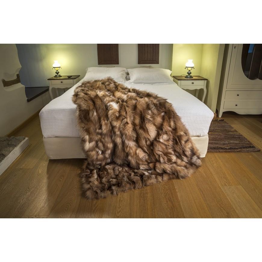 crystal real fox fur throw size 115 x 185 cm