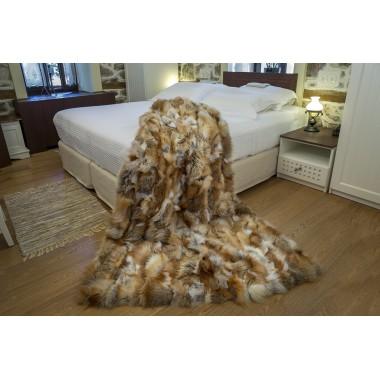 Golden Island real fox fur throw size 115 x 185 cm