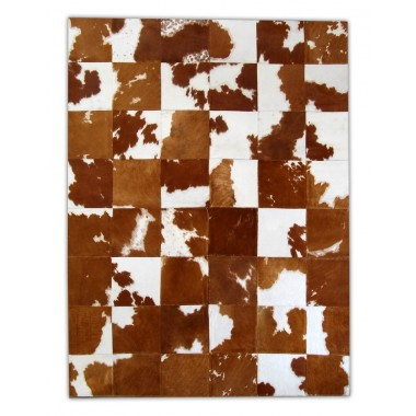 patchwork cowhide rug k-154 brown-white