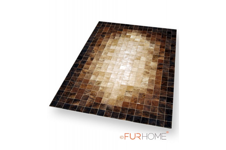 Beige & brown mosaic patchwork cowhide leather rug K-1687 ...