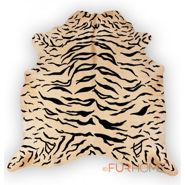 TIGER COWHIDE RUG  ANIMAL PRINT BLACK  BEIGE