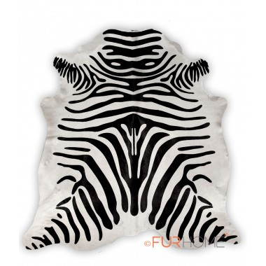zebra print cowhide black on off white
