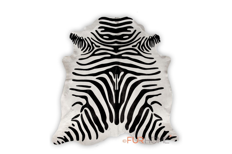 Zebra Black White Animal Print Cowhide Rug Fur Home
